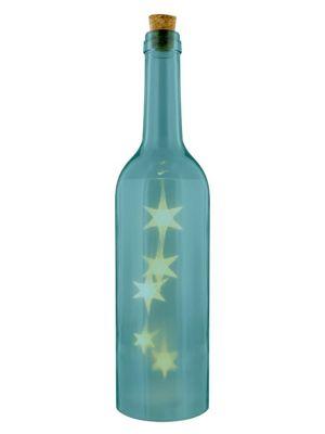 Decorative Blue Bottle with LED Light 7x29x7cm