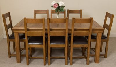 French Rustic 180cm Fixed Solid Oak Dining Table & 8 Lincoln Rustic Oak Chairs