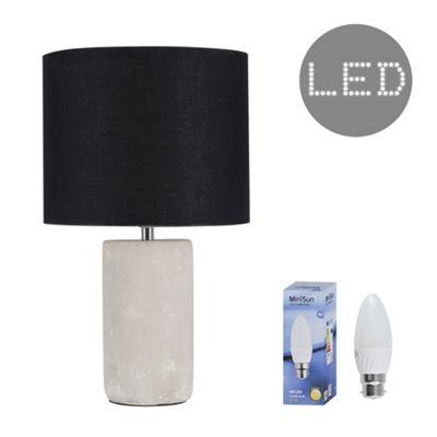 Austin 40cm Cement LED Table Lamp - Cement & Black
