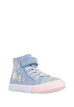 F&F Embroidered Glitter Toecap High Top Trainers - Denim blue