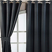 Homescapes Black Herringbone Chevron Blackout Curtains Pair Eyelet Style, 66x54""