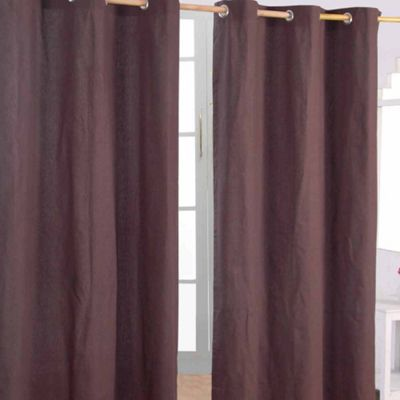Homescapes Cotton Plain Chocolate Ready Made Eyelet Curtain Pair, 117 x 137 cm