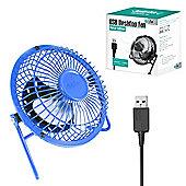 """Twitfish Metal USB Desk Fan 4"""" - Blue"""