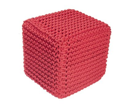 EHC Braided Hand Knitted Cubical Foot Stool Pouffe, Red