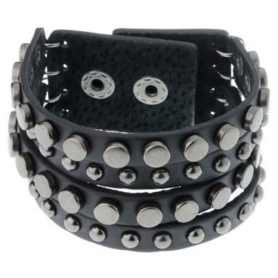 Black Leather Gunmetal Studded Bracelet For Men