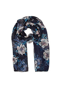 F&F Floral Print Scarf - Navy