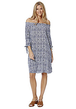 F&F Tile Print Bardot Dress - Blue & White