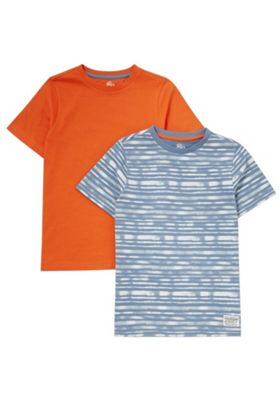 F&F 2 Pack of Plain and Striped T-Shirts Blue/Orange 5-6 years