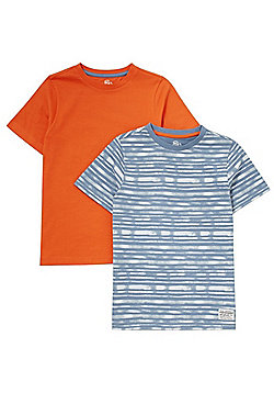 F&F 2 Pack of Plain and Striped T-Shirts - Blue/Orange