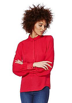 Vila Slim Collar Blouse - Red