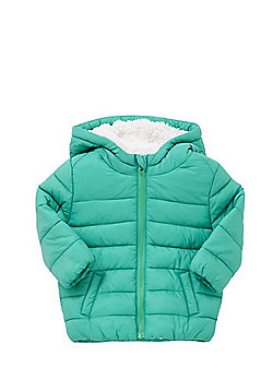 F&F Fleece Lined Shower Resistant Padded Coat - Green