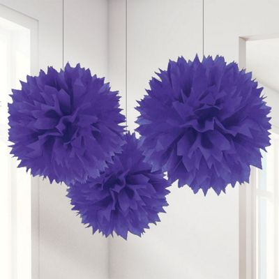 Purple Pom Pom Decorations - 40cm
