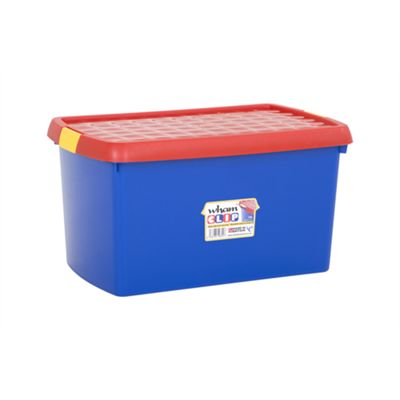 Wham 6.03 Clip 14 litre Box & Lid Blue/Red (Yellow clips) - Pack of 3