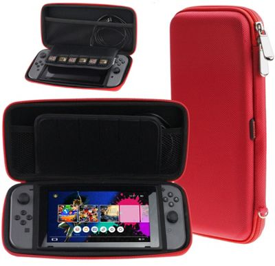 Navitech Neon Red Premium Compact Travel Hard Carry Case For The Nintendo Switch