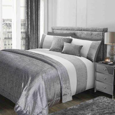 Sienna Glitter Velvet Bedspread Blanket Throw Over - 130 x 200cm, Silver Grey