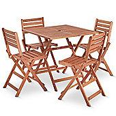 VonHaus Wooden Table and 4 Chair Garden Patio Furniture Set - 80 x 80cm