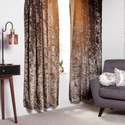 Chocolate Crushed Velvet Heavyweight Curtains 90