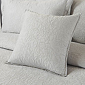 Highams Embroidered Pillow Case Cushion Cover, 43 x 43 cm - Silver
