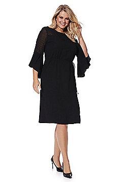 Lovedrobe Dobby Mesh Yoke Plus Size Dress - Black