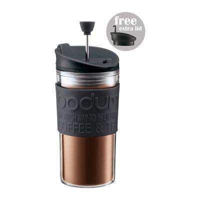 Bodum Travel Press, Travel Mug with extra lid, Black 0.35L
