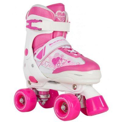 Rookie Kids' Adjustable Quad Skates - Pulse Pink/White - Large (UK 3 - UK 6)