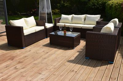Torino Garden Rattan Sofa Set with Table Brown