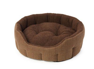 Brown Tweed & Berber Fleece Oval Snuggle S