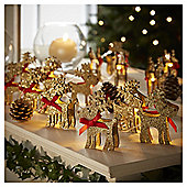 10 Battery Operated Glitter Reindeer Lights