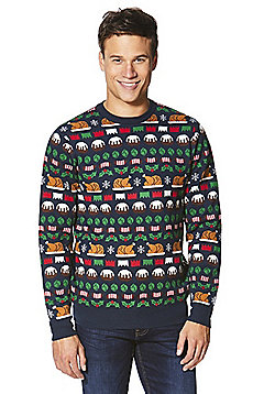 F&F Christmas Dinner Jumper with Turkey Hat - Navy & Multi