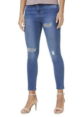 F&F Embellished Patch Mid Rise Skinny Jeans Mid Wash 14 Regular leg