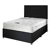 Happy Beds Signature Platinum 2000 Mattress Divan Bed Set Plain Headboard Black