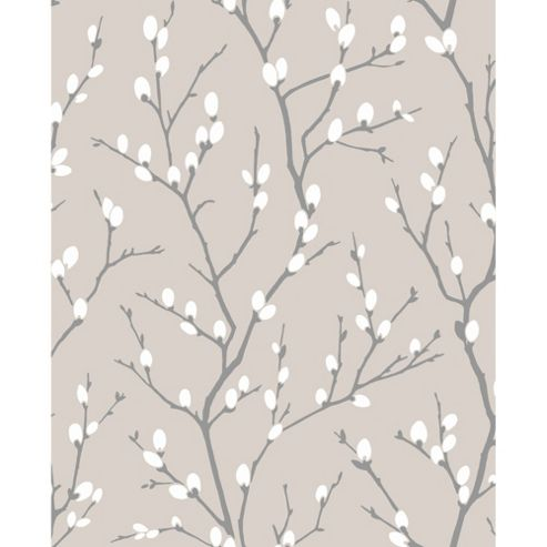 Superfresco Easy Karma Paste The Wall Willow Branch Taupe/Charcoal Wallpaper