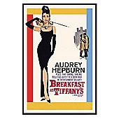 Audrey Hepburn Gloss Black Framed Breakfast at Tiffany's Poster