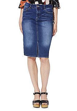 F&F Split Hem Denim Pencil Skirt - Indigo