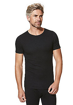 F&F Ribbed Short Sleeve Thermal Top - Black