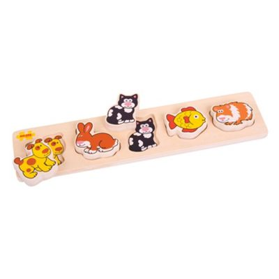 Bigjigs Toys Chunky Lift and Match Pets Puzzle