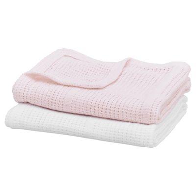 Moses Basket Cellular Blanket, White & Pink 2 pack
