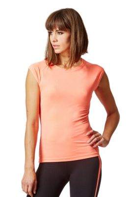 Reflective Running Cap Sleeve T-Shirt with Cut Out Coral 2X