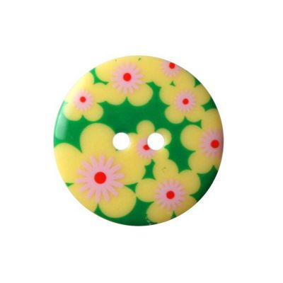 Hemline Green & Yellow Floral Fancy Buttons 22.5mm 2pk