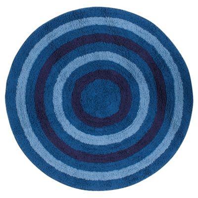 Kids stripe Circle rug blue