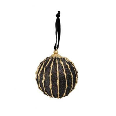 Biba Black And Gold Glitter Line Bauble In Black