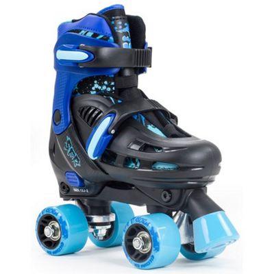 SFR Storm III Blue/Black Adjustable Quad Roller Skates JNR 8-11 (Small)