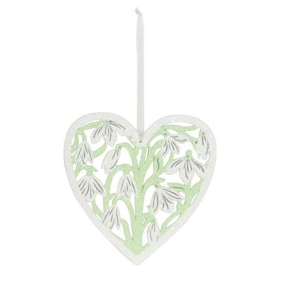 Snowdrop Wooden Heart Christmas Tree Decoration