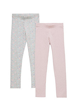 F&F 2 Pack of Star Print and Plain Leggings - Pink