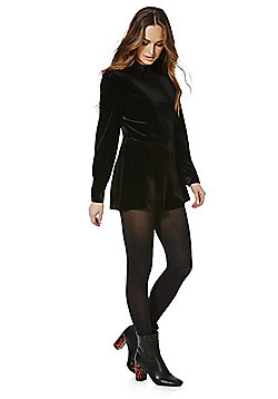 Fashion Union Velvet Long Sleeve Playsuit - Black