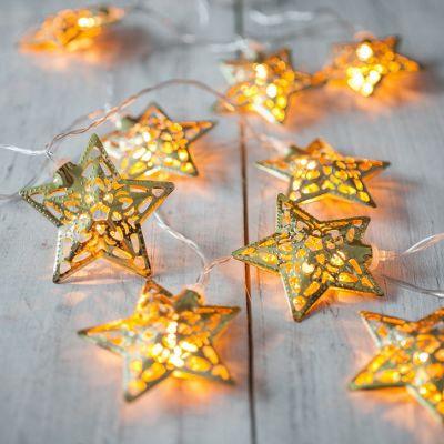 10 Gold Star Battery Led Fairy Lights