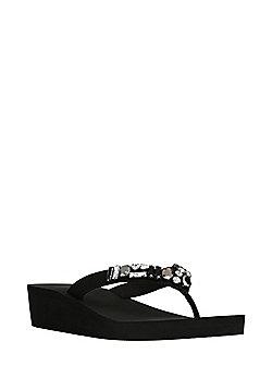 F&F Jewel Embellished Wedge Flip Flops - Black