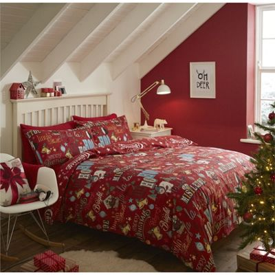 Catherine Lansfield Brushed Happy Christmas Duvet Cover Set - Single