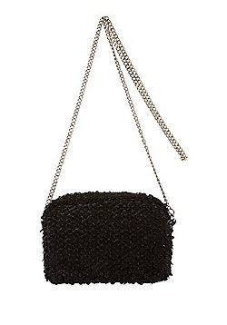 F&F Velvet Sequin Camera Bag Black One Size