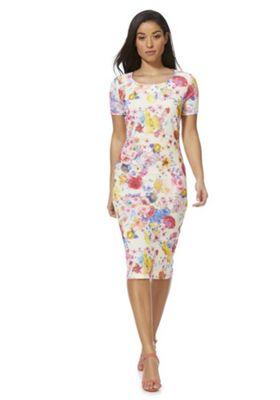 Feverfish Floral Bodycon Dress Multi 18